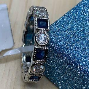 Simulated White and Blue Diamond Silvertone